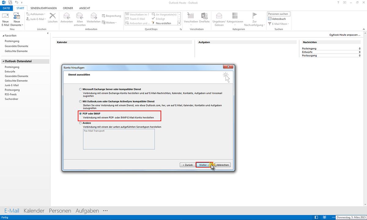Einstellungen im Outlook @utanet E-Mail Adressen   Drei at