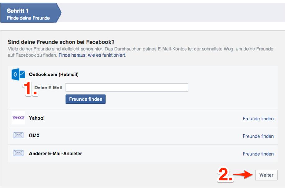 facebook neue registrierung