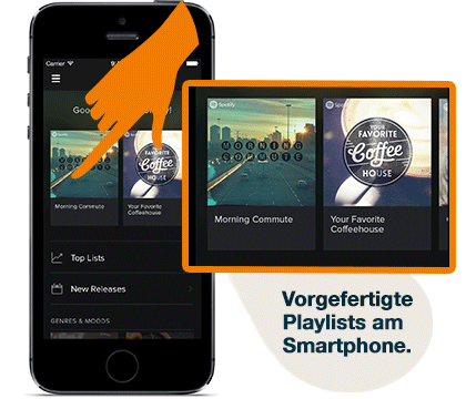Vorgefertigte Playlists am Smartphone