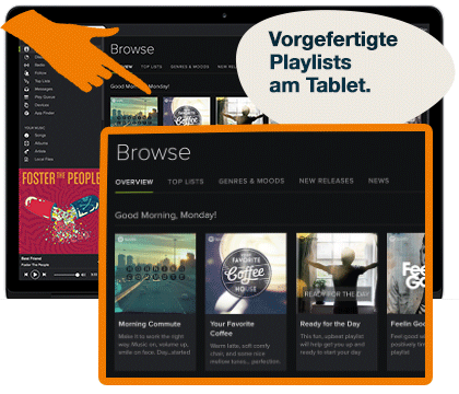 Vorgefertigte Playlists Tablet