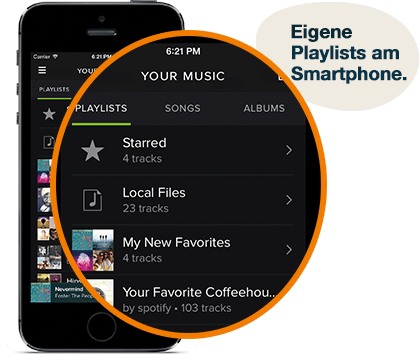 Eigene Playlists Smartphone